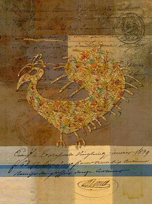 Golden Digital Art - Fafa Bird - 01c02cc by Variance Collections