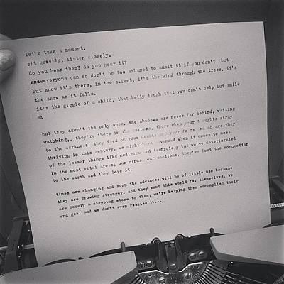 Typewriter Photograph - Faffing Around On My Typewriter (i Have by Coral-Leigh Stuart-deLange