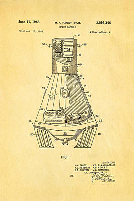 Rocket Science Photograph - Faget Space Capsule Patent Art 1963 by Ian Monk