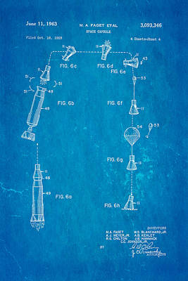 Faget Space Capsule Patent Art 2 1963 Blueprint Art Print