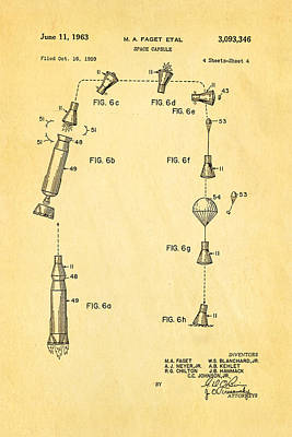 Rocket Science Photograph - Faget Space Capsule Patent Art 2 1963 by Ian Monk