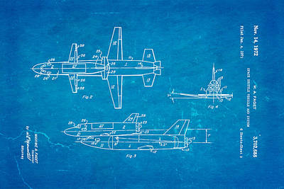 Rocket Science Photograph - Faget Space Shuttle Vehicle 2 Patent Art 1972 Blueprint by Ian Monk