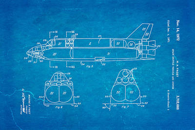Rocket Science Photograph - Faget Space Shuttle Vehicle 3 Patent Art 1972 Blueprint by Ian Monk