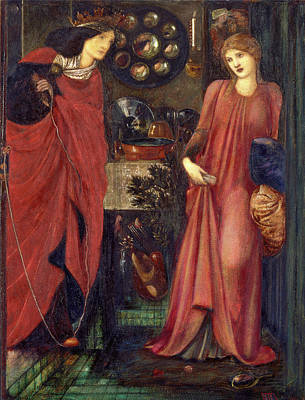 Red Thread Painting - Fair Rosamund And Queen Eleanor Signed And Dated by Litz Collection