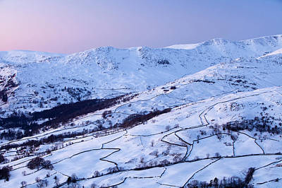 Ambleside Wall Art - Photograph - Fairfield Covered In Snow At Sunset by Ashley Cooper