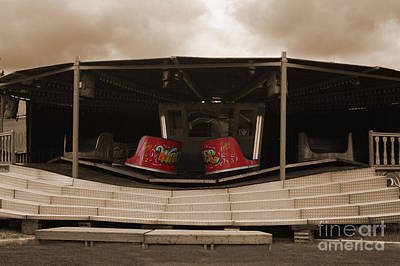 Photograph - Fairground Waltzer In Sepia by Terri Waters