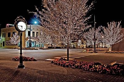 Fairhope Ave With Clock Night Image Art Print