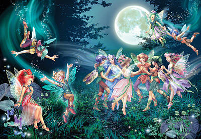 Full Moon Photograph - Fairies And Elves Dancing by Zorina Baldescu