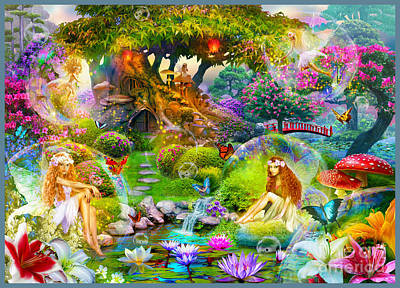Waterlily Digital Art - Fairies by Jan Patrik Krasny