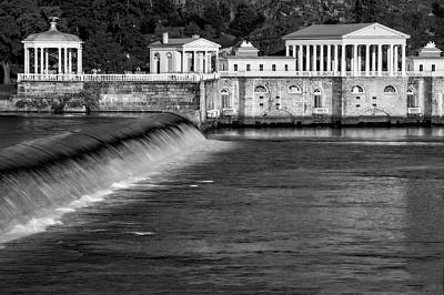 Boathouse Row Photograph - Fairmount Water Works Park Bw by Susan Candelario