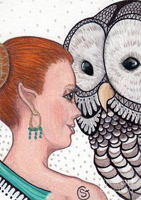 Fairy And The Owl - Close Encounter Original by Sherry Goeben