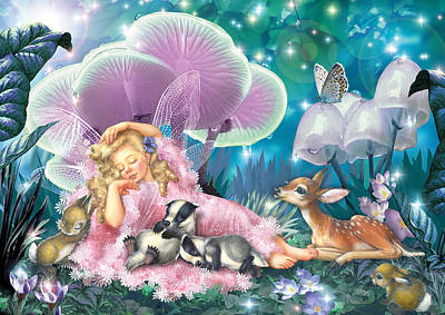 Fairy Asleep And Baby Badgers Art Print