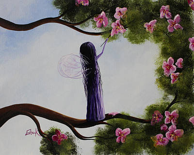 Flower Pink Fairy Child Painting - Fairy Blossoms Original Whimsical Art by Shawna Erback