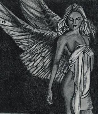 Black And White Fairy Drawing - Fairy by Bobby Dar