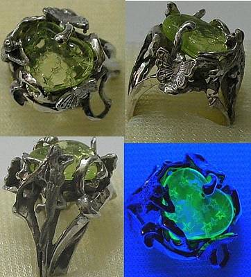 Vaseline Glass Jewelry - Fairy Heart Ring by Michelle  Robison