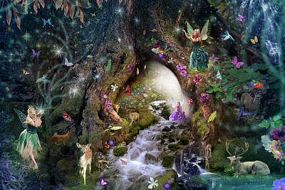 Woodland Drawing - Fairy Hollow by Alixandra Mullins