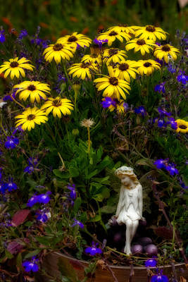 Art Print featuring the photograph Fairy In Garden Pot by Dave Garner