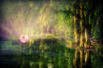 Fairy In Pink Bubble In Serenity Forest Art Print