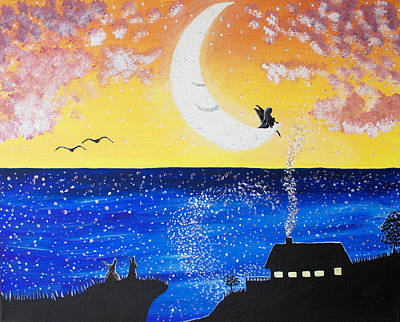 Colourfull Painting - Fairy Moon by Birgitta Serine Kvelland