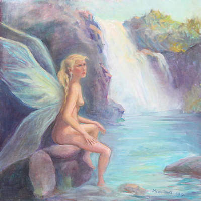 Fairy Of The Falls Morning Bath Art Print by Gwen Carroll