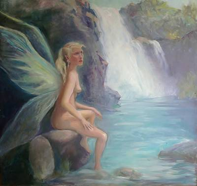 Fairy Of The Secret Falls Art Print by Gwen Carroll
