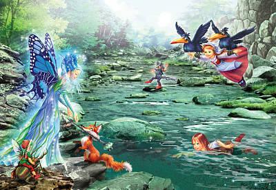 Fairy Stream Art Print by Zorina Baldescu