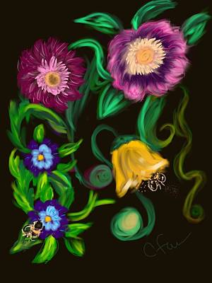 Art Print featuring the digital art Fairy Tale Flowers by Christine Fournier