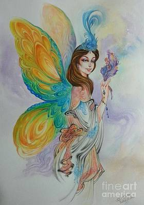 Persian Miniature Painting - Fairy Tale With Brown Hair Miniature Painting Watercolor  by Persian Art