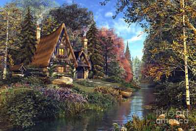 Old-fashioned Digital Art - Fairytale Cottage by Dominic Davison
