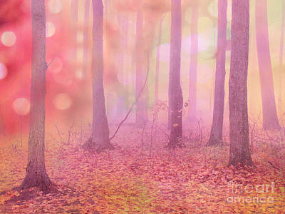 Fantasy Art Nature Photograph - Fairytale Pink Autumn Nature Trees - Dreamy Fantasy Surreal Pink Trees Woodland Fairytale Art Print by Kathy Fornal