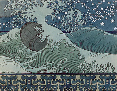 Wave Drawing - Fairytale Of The Tsar Saltan by Ivan Jakovlevich Bilibin