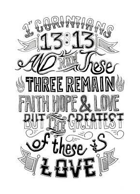 Faith Hope And Love Drawing - Faith Hope And Love by Noah Thompson