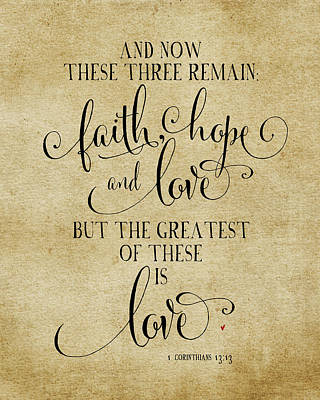 Faith Hope And Love Vintage Art Print
