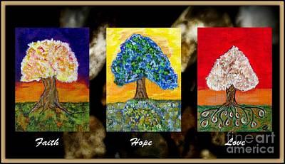 Religious Drawings Mixed Media - Faith Hope Love by Ella Kaye Dickey