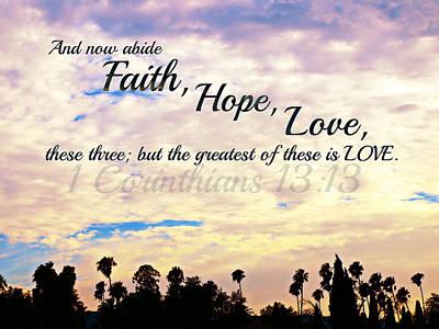 Faith Hope Love Art Print by Sharon Soberon
