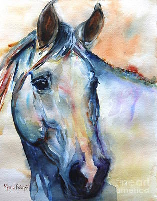 White Horse Watercolor Painting - Horse  Grey Or White And Colorful Faithful by Maria's Watercolor