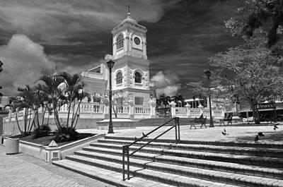 Photograph - Fajardo Church And Plaza B W 1 by Ricardo J Ruiz de Porras