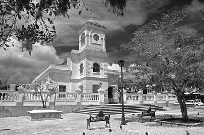 Photograph - Fajardo Church And Plaza B W 2 by Ricardo J Ruiz de Porras