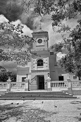 Photograph - Fajardo Church And Plaza B W 3 by Ricardo J Ruiz de Porras