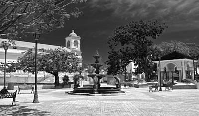 Photograph - Fajardo Church And Plaza B W 4 by Ricardo J Ruiz de Porras