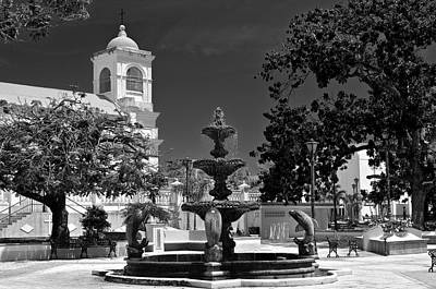 Photograph - Fajardo Church And Plaza B W 5 by Ricardo J Ruiz de Porras