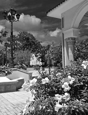 Photograph - Fajardo Church And Plaza B W 6 by Ricardo J Ruiz de Porras