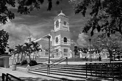 Photograph - Fajardo Church And Plaza B W 8  by Ricardo J Ruiz de Porras