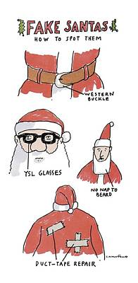 Cartoon Drawing - Fake Santas by Michael Crawford