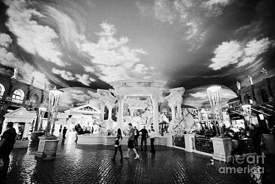 Lightshow Photograph - fake sky at the forum shops caesars palace luxury hotel and casino Las Vegas Nevada USA by Joe Fox