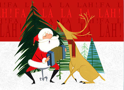 Santa Wall Art - Painting - Falalalalah by Michael Humphries