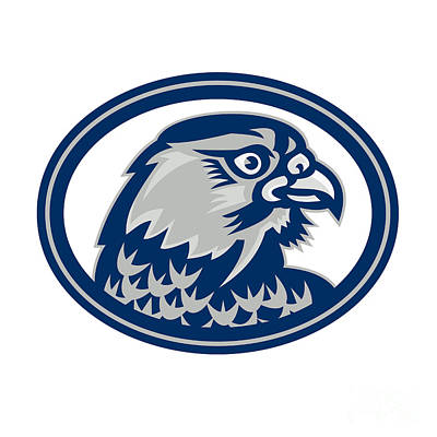 Fun Patterns - Falcon Head Side Oval Retro by Aloysius Patrimonio
