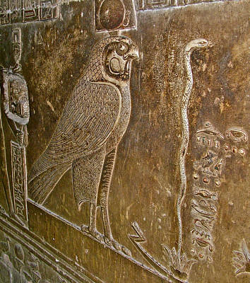 Hathor Digital Art - Falcon Symbol For Horus In A Crypt In Temple Of Hathor In Dendera-egypt by Ruth Hager