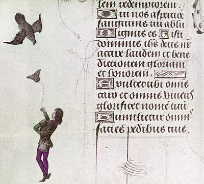 Sports Book Painting - Falconer, 15th Century by Granger