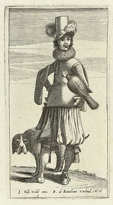 Falcon Drawing - Falconer With Hunting, Jan Van De Velde II by Jan Van De Velde (ii) And Robert De Baudous
